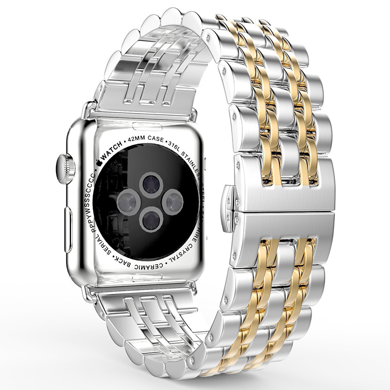 все цены на Stainless Steel Watchbands Bracelet For IWatch Apple Watch Band Link Accessories 38mm 42mm Metal Strap With Adapter Accessories онлайн