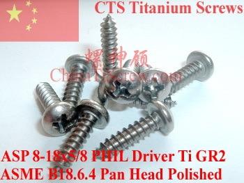 Titanium screws 8x5/8 Pan Head Self Tapping Polished 50 pcs Ti GR2