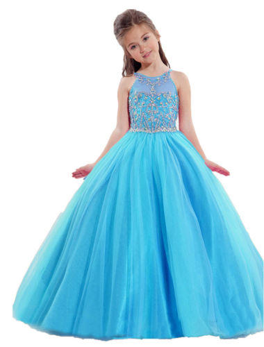 Stock Size Bule Birthday Party Formal Occasion Gowns Little Girls Dress Hot Sale in stock layered pre teen party gowns little girls pageant dress pink color