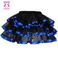 Satén azul y negro Tulle Skirt adultos falda tutú corto Plus Size faldas para mujer de Saia Feminina Lolita de Clubwear de la danza
