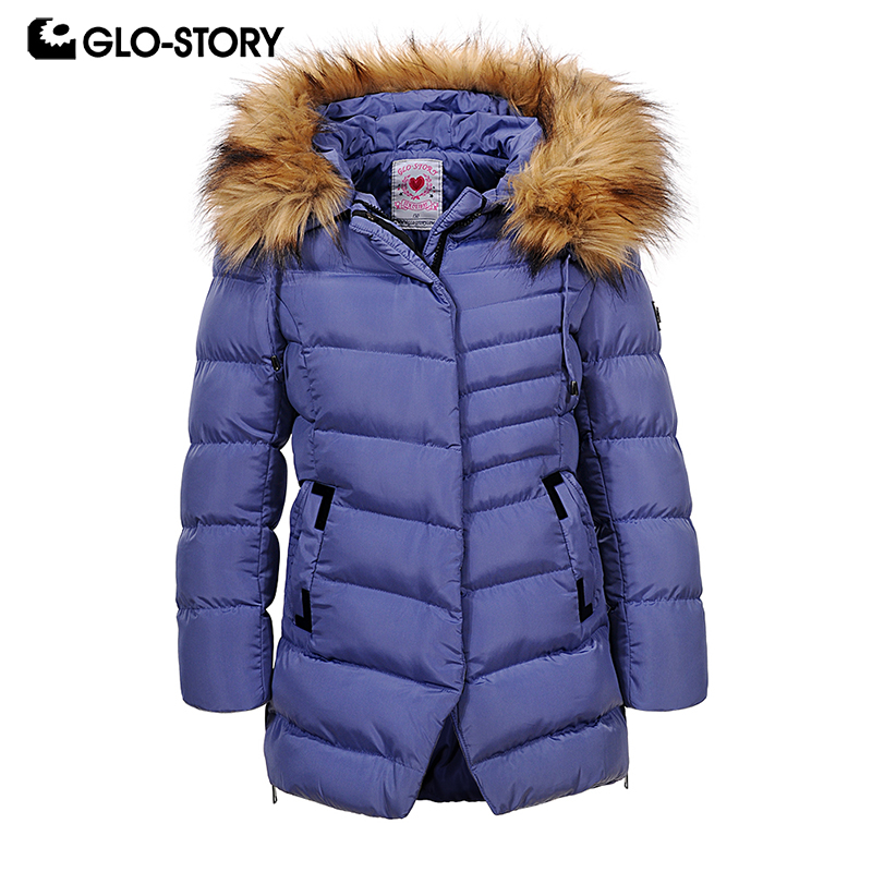 GLO-STORY 2018 Winter Girls Parka with Fur Hooded Pockets Zipper Closure Winter Jackets For Girls Kids Winter Coats GMA-6500 glo story teenage boys winter jackets children boy 2018 casual streetwear patchwork with tape zipper hoodie parkas coats