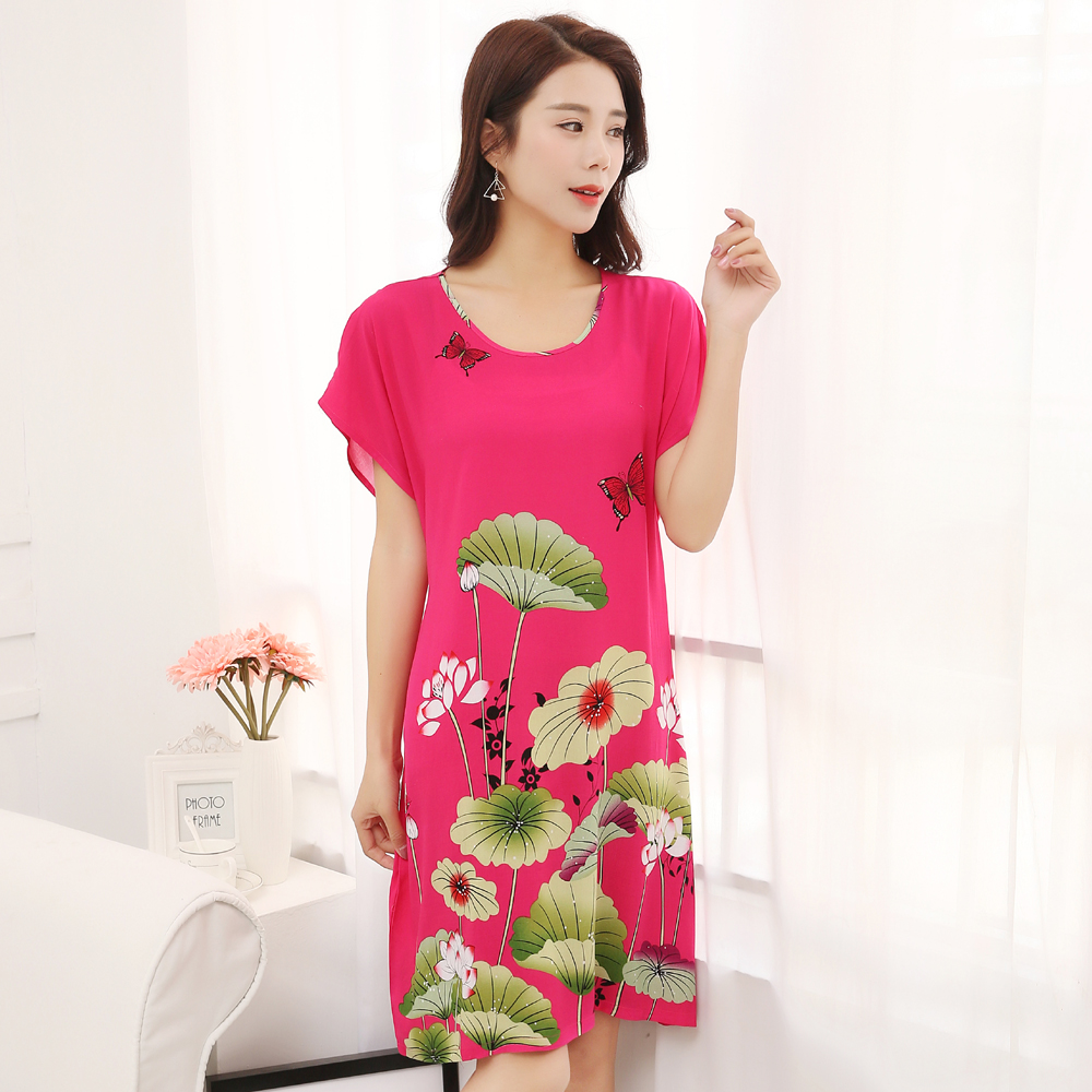 Summer New Women Cotton Home Casual Dress Chinese Style Flower Nightwear Nightgown Print Sleepwear Bathrobe Gown One Size JA31