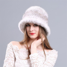IANLAN Luxury Womens Mink Fur Bucket Hats Casual Girls Real Flower Adornment Ladies Knitted Caps IL00213