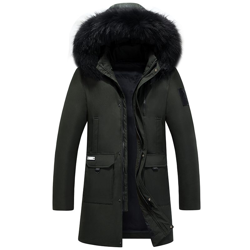 2019 New Men   Down     Coat   Winter Thick Parka Long Jacket Men 80% White Duck   Down   Real Fox Fur Detachable Hood Winter Jackets Mens