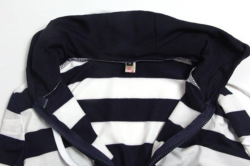 Moda damska Stripes Casual Zipper Bluzy Z Kapturem Kieszeni Kobiety Bluza Plus Rozmiar S-5XL LJ7847R 13
