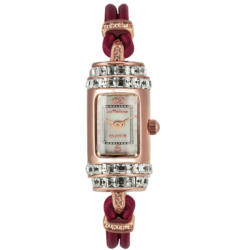 Melissa New Arrival Gift Watches for Women Rectangle Leather Bracelet Watch Quartz Crystals Wristwatch MINI 2-Hand Analog Montre stylish rhinestoned rectangle triangle bracelet for women