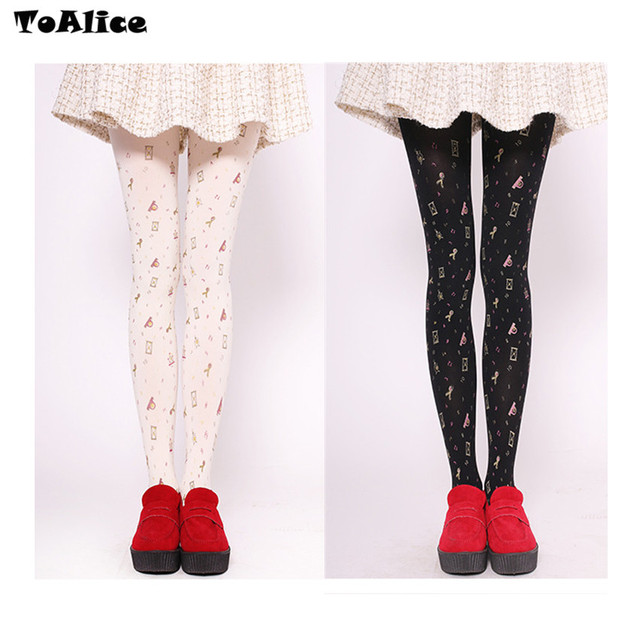 47043a301 Fashion Sandglass Hourglass Printed Cute Lolita Tights Pantyhose Harajuku  Sexy Women Pantyhose Colors White   Black