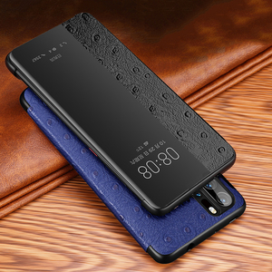 Image 1 - オリジナルxoomzダチョウクロス本物のレザーケースhuawei社P30 プロ高級スマートオートフリップhuawei社P30/プロ電話ケース