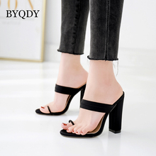 BYQDY Designer Sexy Women High Heel Sandals Candy Thick Flip Flops Female Slip On Slippers Evening Shoes Woman Footwear