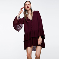 V Neck Long Sleeve Autumn Shirt Double Pleated Hem Casual Tunic Blouse Solid color Loose Women Shirts Blouses Blusa Female Top