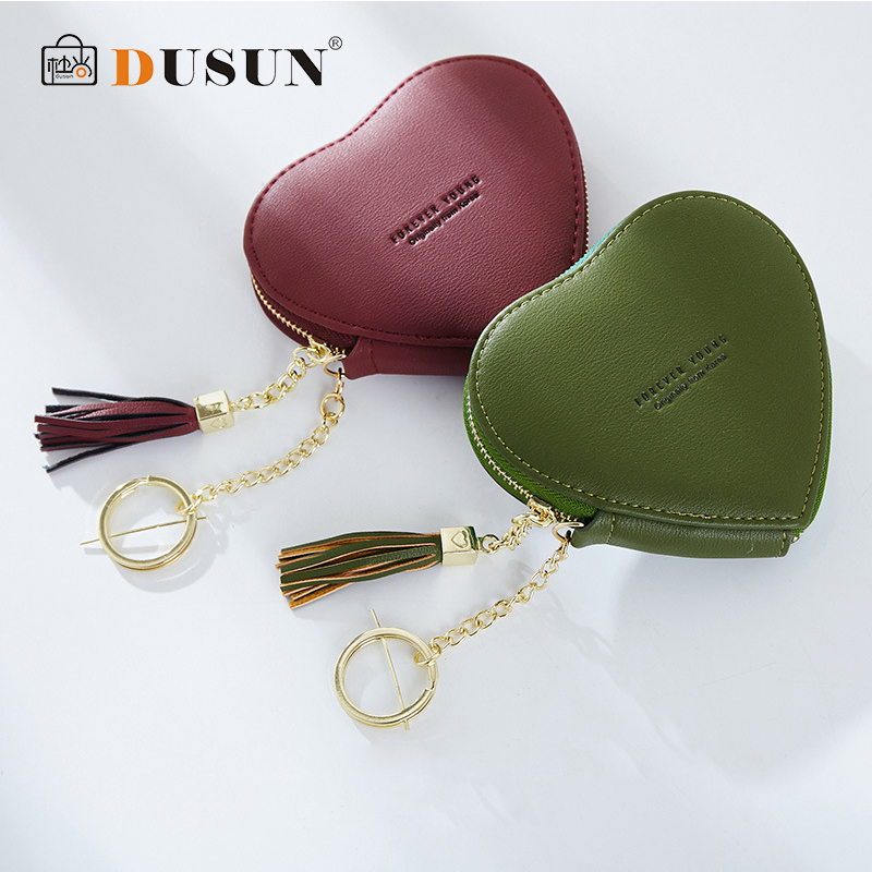 DUSUN Womens Wallets Pocket 2018 New Practical Design Small Purse 13 Colors Short Paragraph Card Holder Zipper Heart Keychain ...