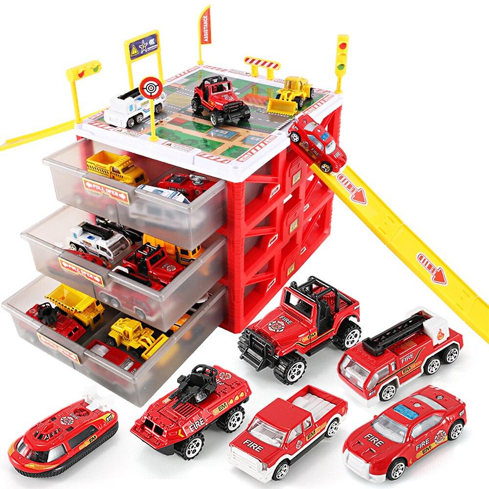 Multi-fonctionnelle Mini Parking Lot Voiture Jouet Tiroir Enfants Jouets Boîte De Rangement Cas Garçons Nouveauté Cadeaux Enfants Jeux De Société