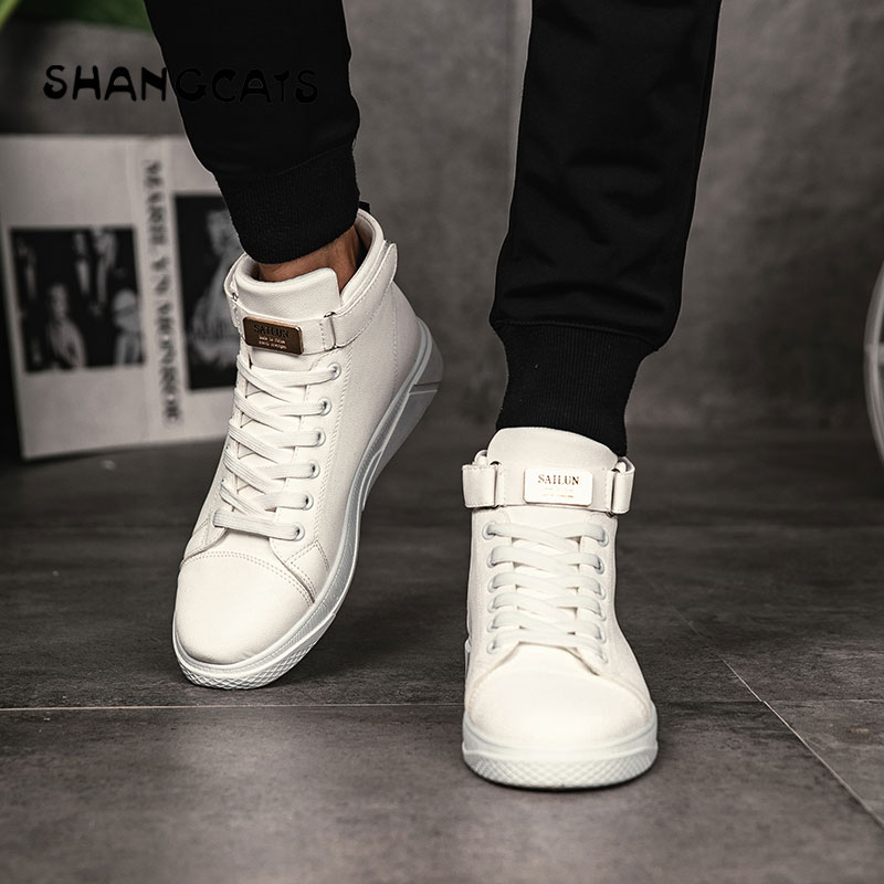 Shoes Fashion 2018 Mens Vulcanized Shoes Black High Top Lace-up Winter Casual Shoes For Men Boys Sneakers Without Lace