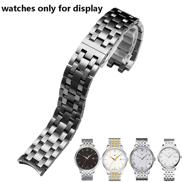 PEIYI watchband 19mm replacement metal bracelet silver stainless steel strap mens and female watch chain for Tissot T065
