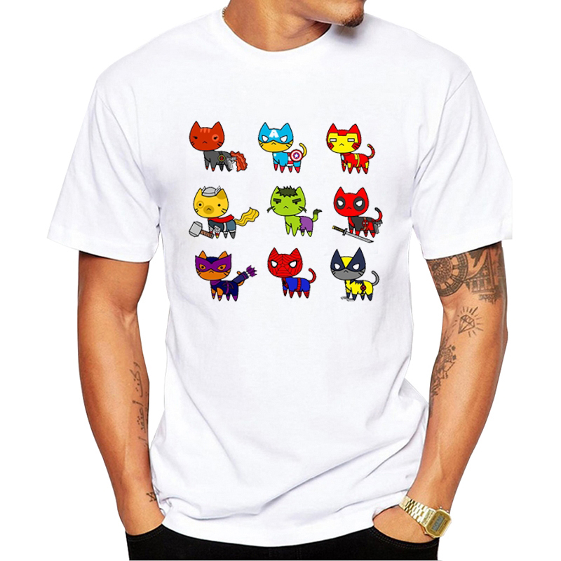 Newest The Pugvengers Men   T  -  Shirt   Short Sleeve Funny Pugs Printed Tops Classic Tee Cool Avengers Design   T     Shirts