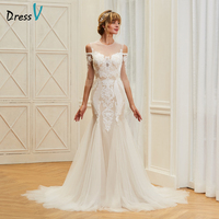 Dressv appliques elegant scoop neck wedding dress 3/4 sleeves floor length beading bridal outdoor&church trumpet wedding dresses
