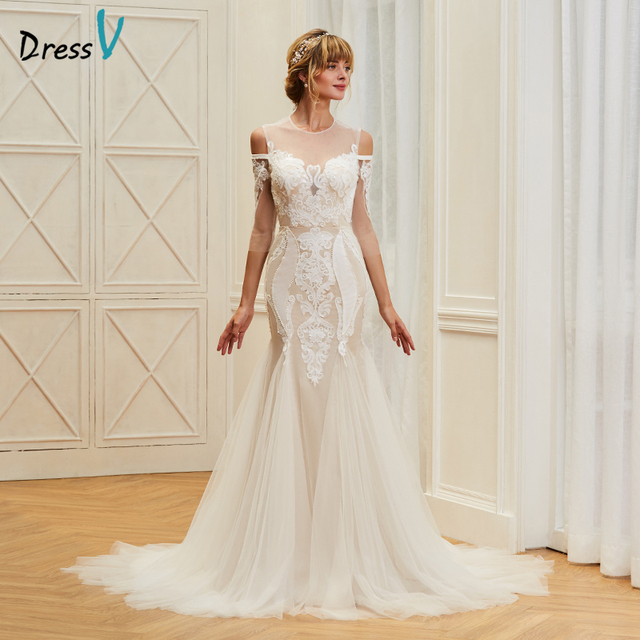 Dressv appliques elegant scoop neck wedding dress 3/4 sleeves floor ...