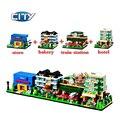 4 set/lot decool 1110-1113 city scene película panadería/estación de tren/hotel minis bloques de construcción juguetes leping compatible