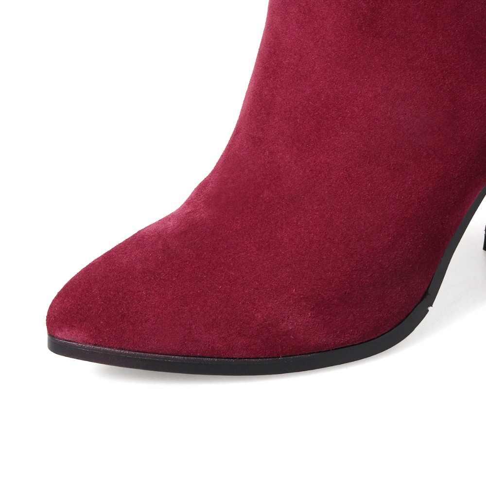 FEDONAS/2020 брендовые Модные женские зимние ботинки из натуральной кожи пикантные ботильоны из коровьей замши зимняя обувь с острым носком Женская Boots34-43
