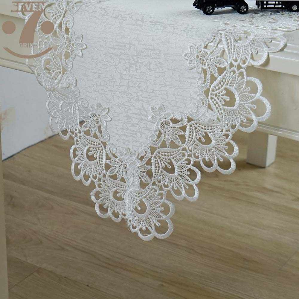 Free Shipping Dining Banquet Coffee Table Decorative Embroidered White Colour Table Runner