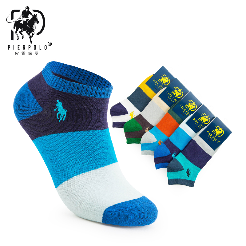 2018 PIER POLO new fashion casual men's boat   socks   color cotton short   socks   men's best gift   socks   low price direct sales 5 pairs