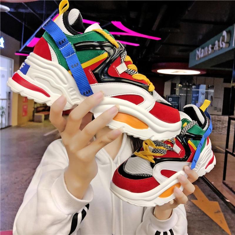 Sports Heel Plat Us18 Running Height Sneakers Breathable Women Shoes In Footwear 6 49increasing High Female Cm Wave Cushioning TPOkiuXZ