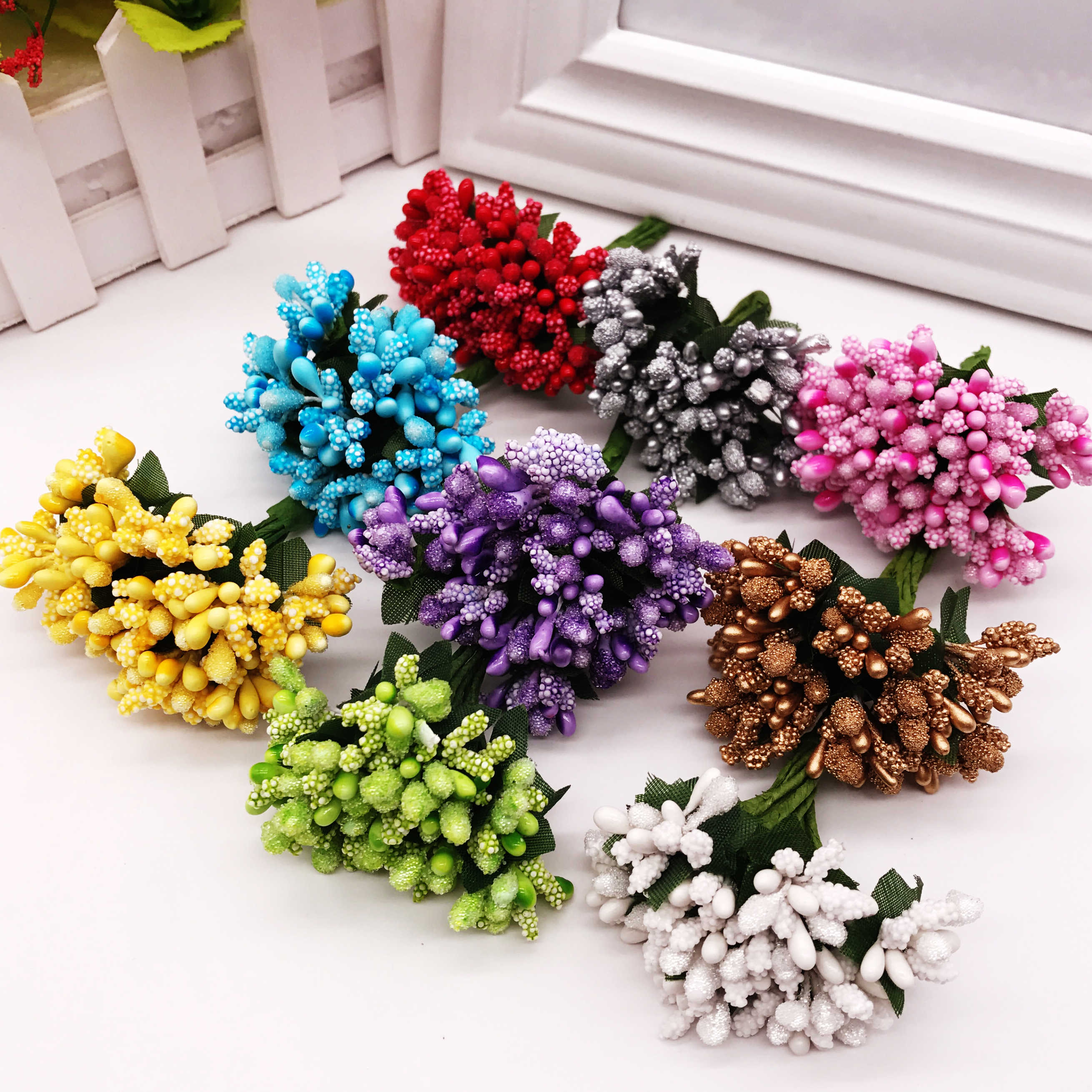 12 pçs/lote Estame Flor Artificial haste de arame/casamento deixa estame DIY caixa de coroa de flores de casamento decoração