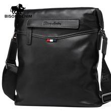 Bison denim tasche männer klassische schwarze geschäfts echtes leder tasche marke crossbody tasche designer umhängetaschen n2490