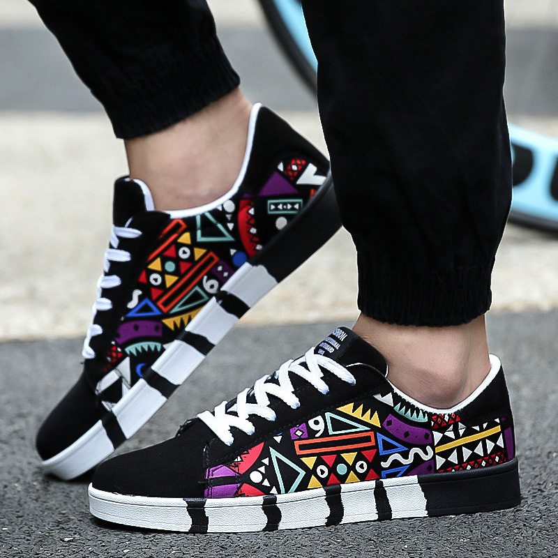 HENGSONG Geometric Print Men Sneakers Summer Autumn Sports Footwear Skateboarding Shoes Breathable Canvas Shoes For Male Shoes
