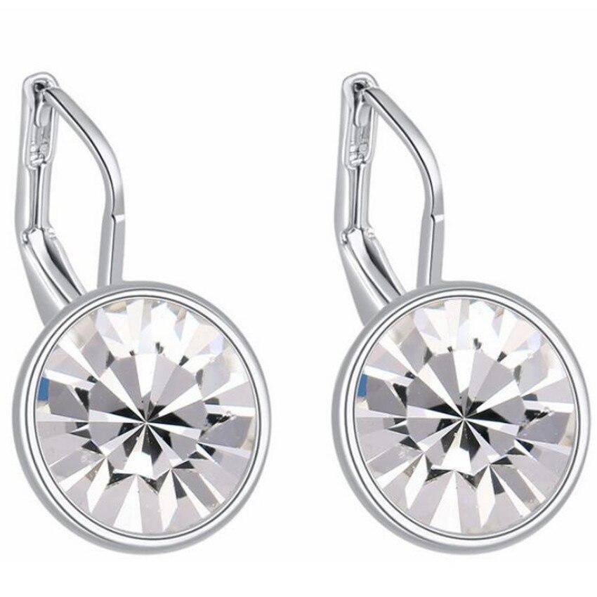 66023ba99 לחץ להגדלה. SHDEDE Round Crystal from Swarovski Drop Earrings For Women  Fashion Jewelry Clear Rhinestone Classic Simple Accessories +