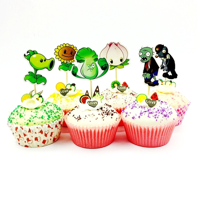 24pcs Plants Vs Zombies Cupcake Topper Kids Birthday Party Cake Decoration Supplies Sunflower Cannibal Flower Cabbage
