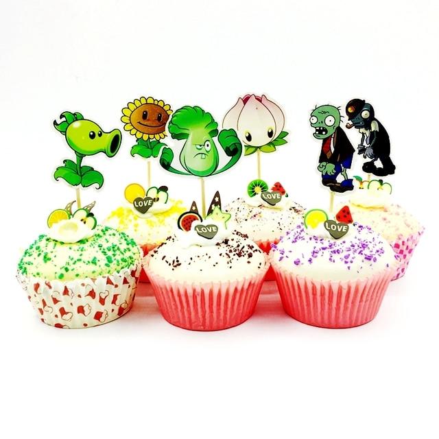24pcs Plants Vs Zombies Cupcake Topper Kids Birthday Party Cake