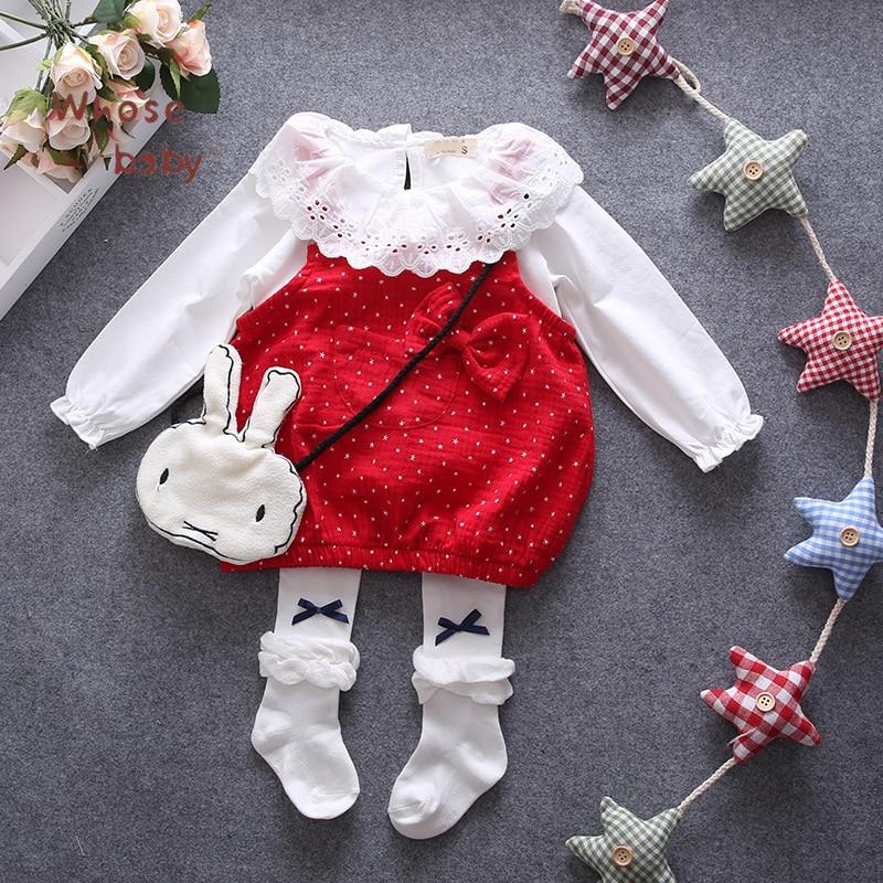 Baby Girl Dress 2Pcs Autumn Lace Dots Vest Coat Newborn Baby Girl Dresses For Girls Children Long Sleeves Infant Girl Dresses