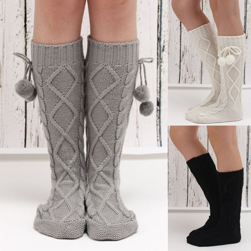 Women Knitted Long Boot Socks Thigh High Socks Crochet Boot Cuffs