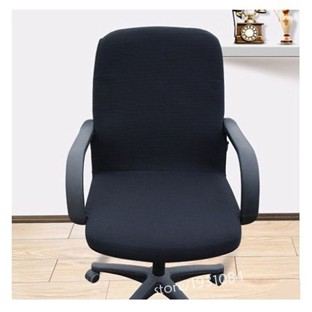 Office Computer Black Chair Cover Side Zipper Design Arm Chair Cover  Recouvre Chaise Stretch Rotating Lift