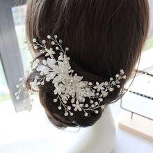 New white leaf pearl crystal beads pure flower bride hair barrette wedding headdress short brides jewelry