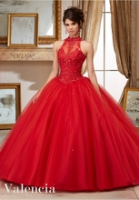New Arrival Long Ball Gowns Beaded Embroidery Red Quinceanera Dresses 2016 High Neck For 15 Years Vestidos De 15 Anos QR68