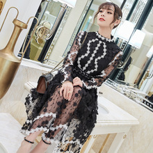 Dress Women Spring Summer 2019 New Ladies Three-dimensional Embroidered Lace Mesh Slim Long Sleeved Fashion Knee Length