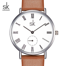 SK Relogio Feminino 2017 NEW Smart Casual Leather Strap Women Watches Quartz Montre Femme Ladies Wrist Clock #K0052