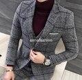 Outono Inverno da janela padrão de verificação de lã conjuntos de terno homens blazer custom made vestido de casamento melhor homem do terno 3 peça (jaqueta + calça + colete