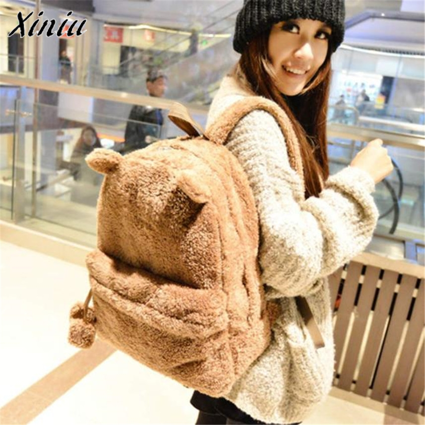 Bolsas 2017 Ladies Girls Cute Backpack women Cute Travel Satchel Shoulder bags Bolsa feminina Plush Shoulder bags Rucksack damen