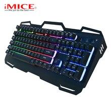 IMice Wired Gaming Keyboard 104 Teclas de Teclado Mecânico Teclado Retroiluminado para PC Computador Russo Inglês Teclado Clavier #40