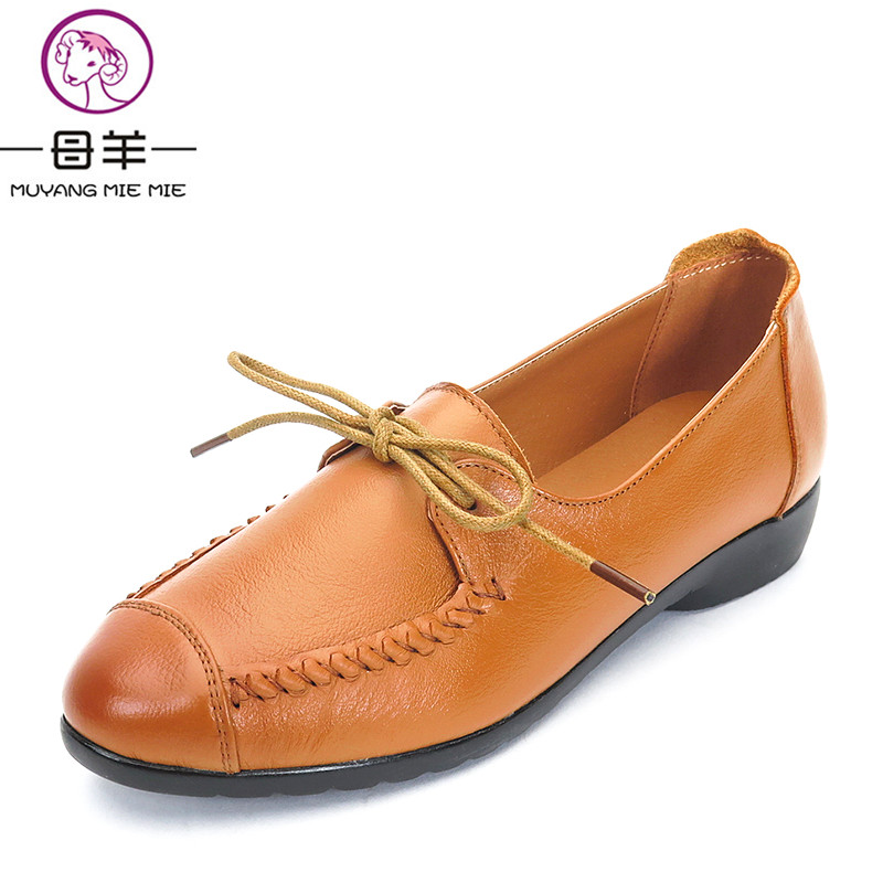 MUYANG MIE MIE Spring Autumn Women Shoes Fashion Genuine Leather Flat Shoes Woman Comfortable Lace-Up Casual Shoes Women Fl women s shoes 2017 summer new fashion footwear women s air network flat shoes breathable comfortable casual shoes jdt103