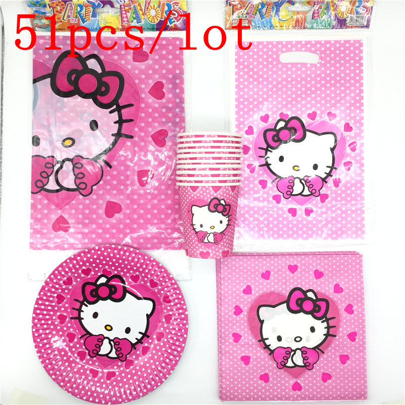 51pcs lot Theme Hello Kitty Gift Bags Tablecloth Decoration Napkins Happy  Birthday Party Cups Baby Shower Kitty Plates Supplies-in Disposable Party  ... 5c05e59a31c56