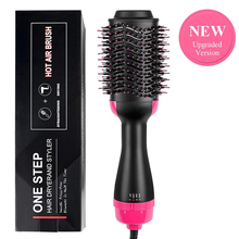 купить One Step Hair curling Dryer Brush Volumizer straightener curler 2 in 1 iron comb Hot air Electric Blow Negative Ions for women дешево