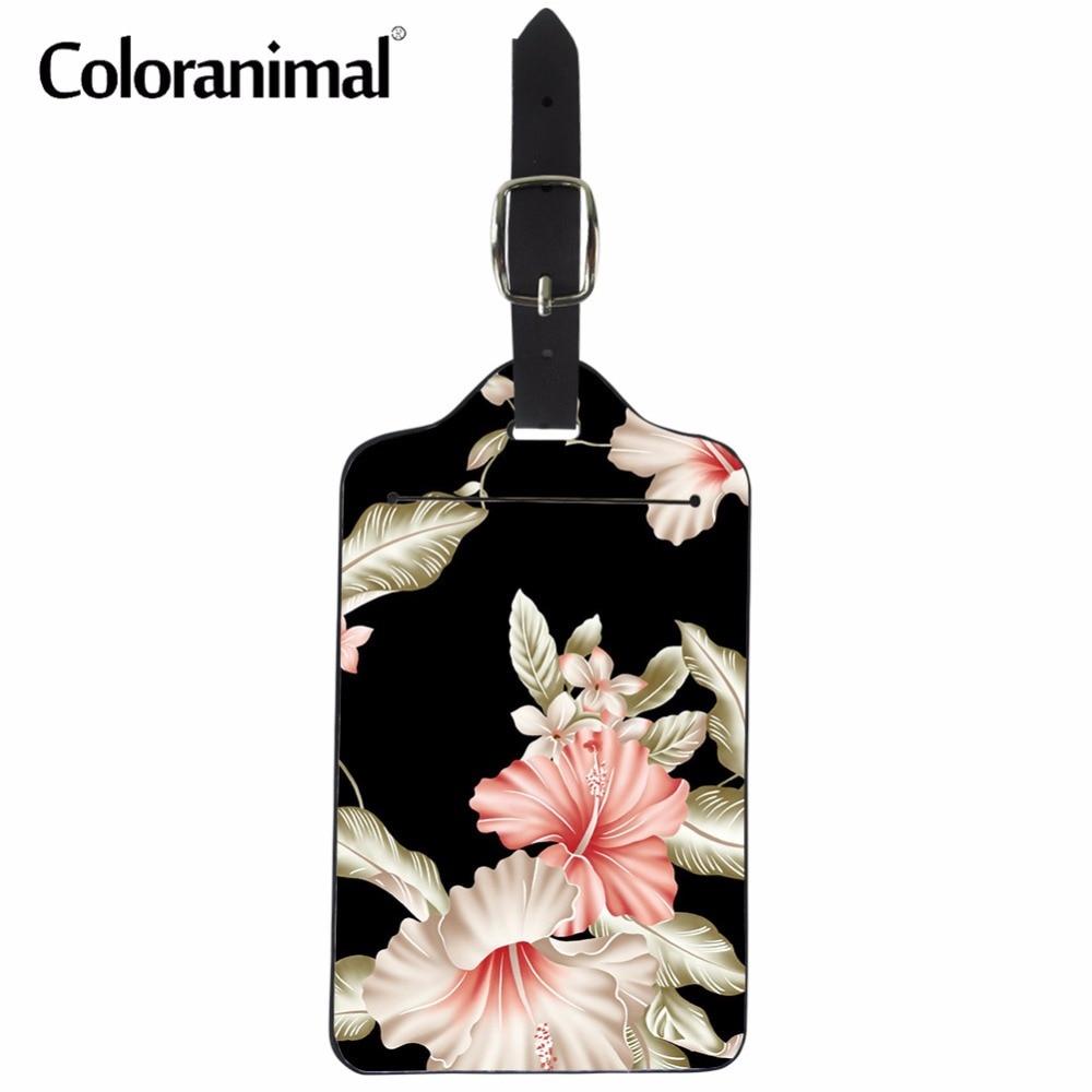 Coloranimal Women Vintage Luggage Label Cover Flower Floral Design Woman Luggage Suitcase Tag Bolsa Feminino Leather Label Bag