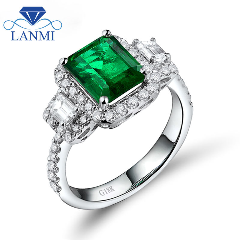 New Emerald Cut 7x8.5mm Véritable Naturel Vert Émeraude Bague de Fiançailles, 18Kt Or Blanc Diamant Émeraude Diamant Bijoux WU228