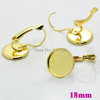 18mm New Golden Plated Round Bezel Caps Bases French Style Clip Hook Earrings Settings Blank for 18mm CABs Cabochon Wholesale