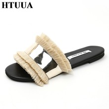 HTUUA Cozy Shoes Women Slippers Fashion Metal Bling Slides Fur Fringe Flip Flops Summer Flat Slides Outside Ladies Shoes SX1207(China)