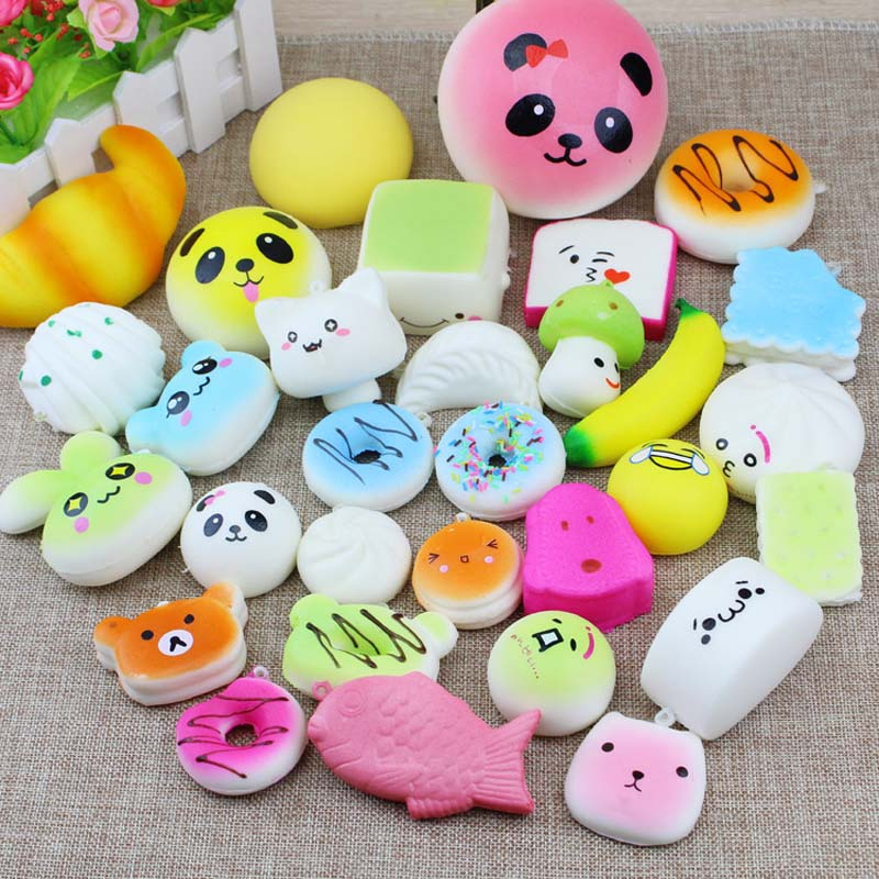 10/20/30 Pcs/Pack Squeeze Mochi Slow Rising Adorable Bread Cake Donut Charm Pendant Toy Stretchy Squishy Cream Cute Phone Strap